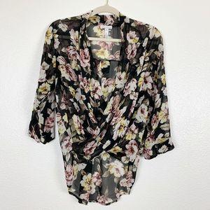 Leith Black Floral Semi Sheer Faux Wrap Blouse XS